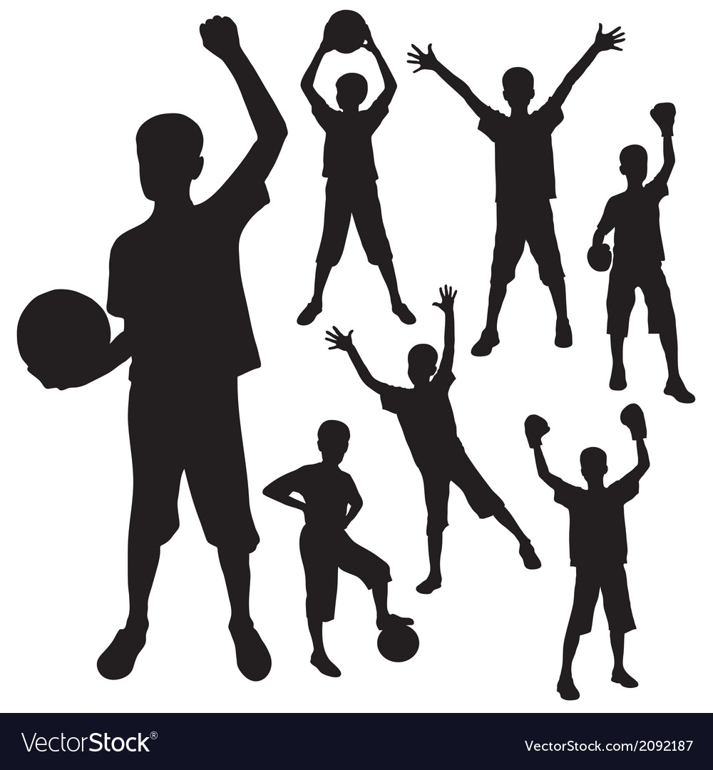 Silhouettes of the boy vector | Price: 1 Credit (USD $1)