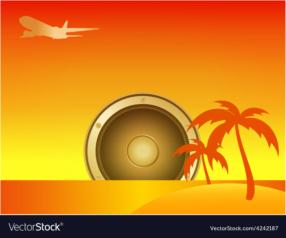 Summer island with speaker and aircraft vector | Price: 1 Credit (USD $1)