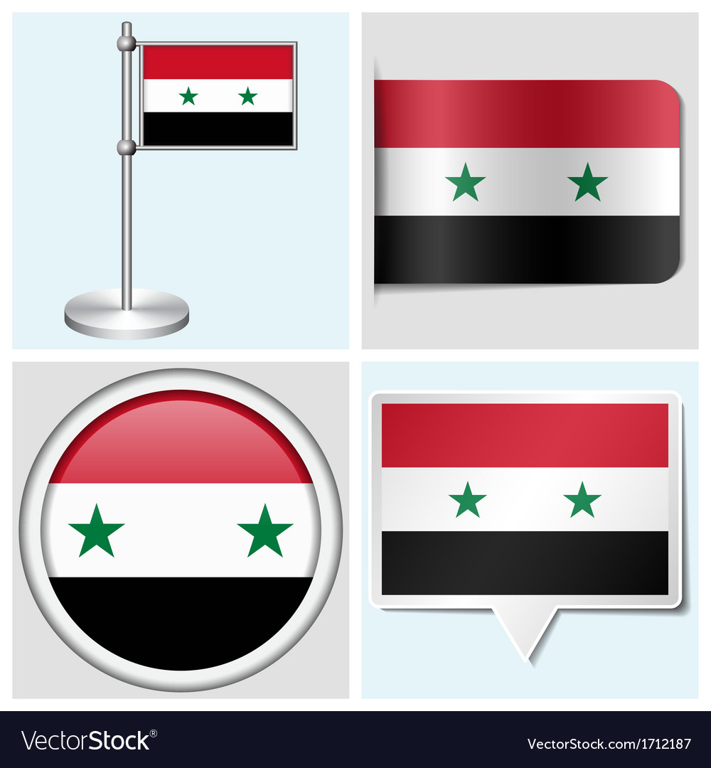 Syria flag - sticker button label flagstaff vector | Price: 1 Credit (USD $1)