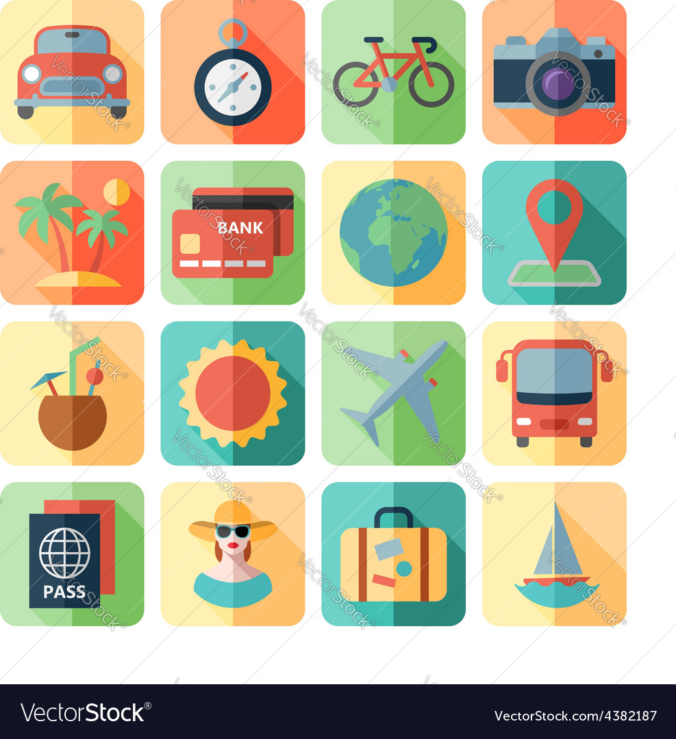 Traveling and transport icons for web mobile app vector | Price: 1 Credit (USD $1)