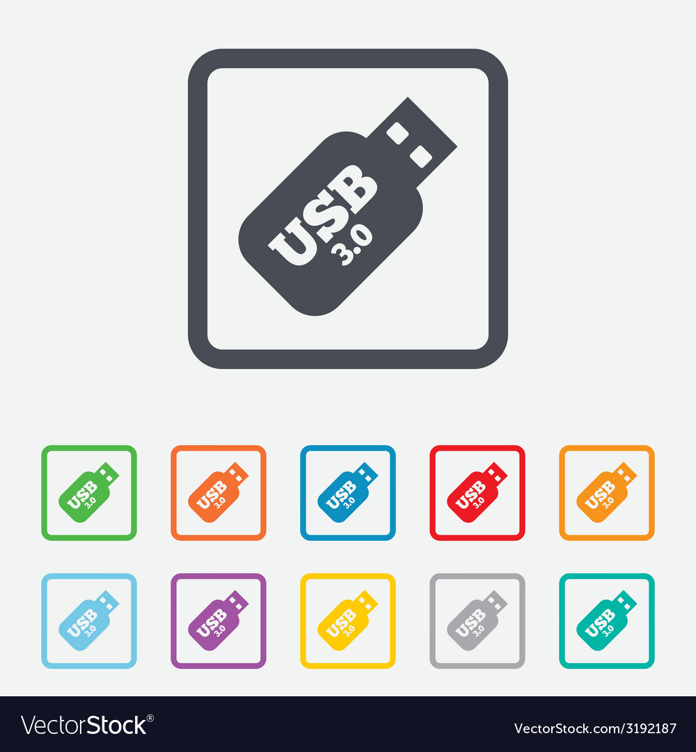 Usb 30 stick sign icon usb flash drive button vector | Price: 1 Credit (USD $1)