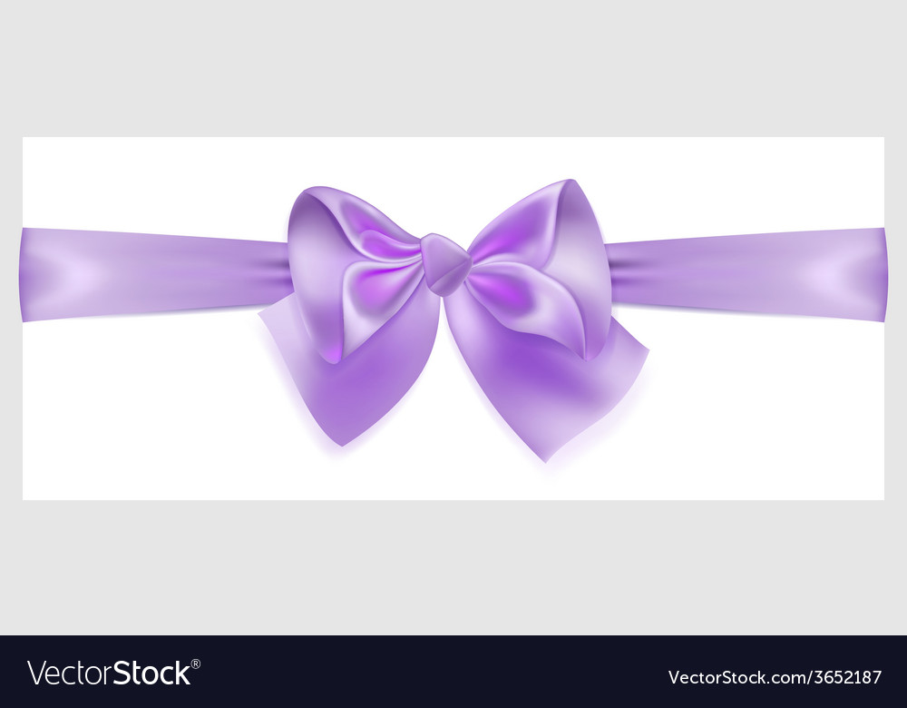 Violet bow with ribbon located horizontally vector | Price: 1 Credit (USD $1)