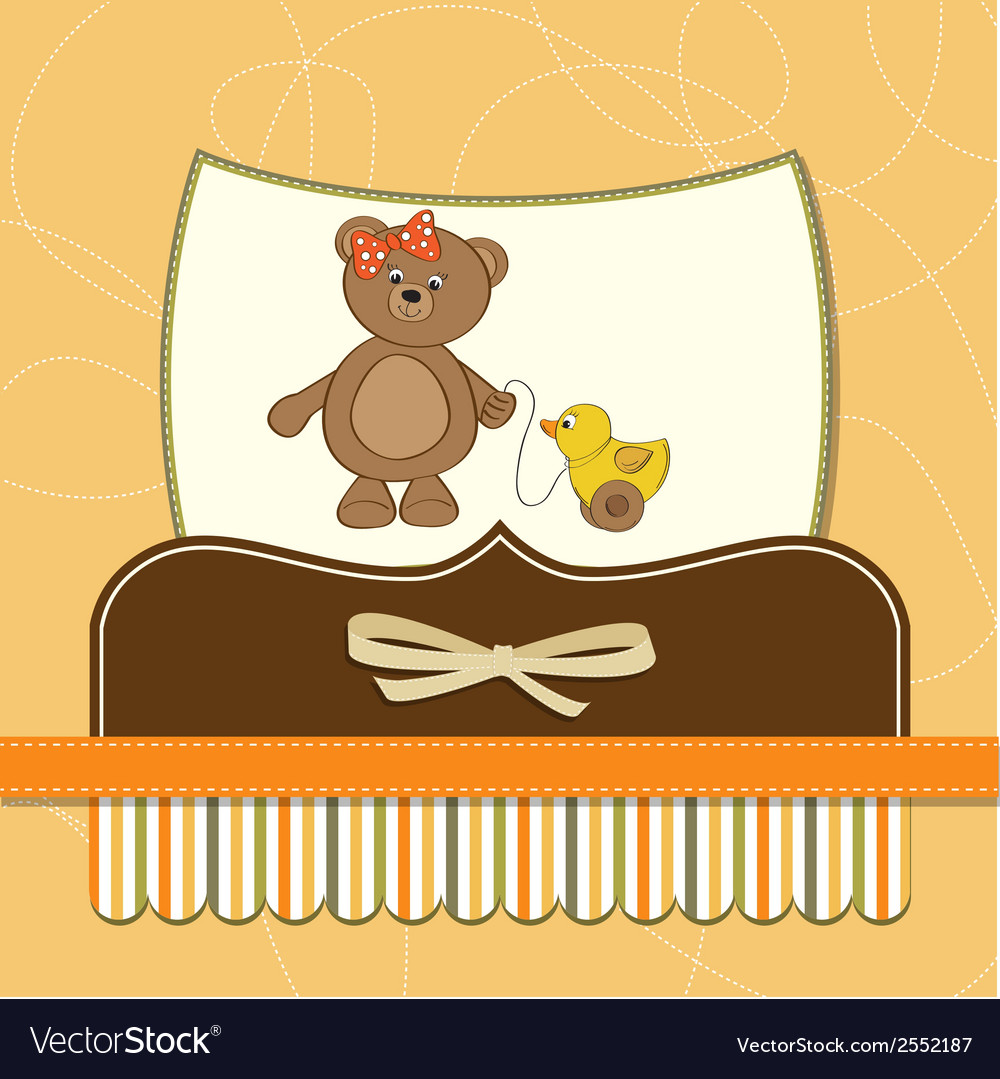 Welcome baby card with girl teddy bear and her vector | Price: 1 Credit (USD $1)
