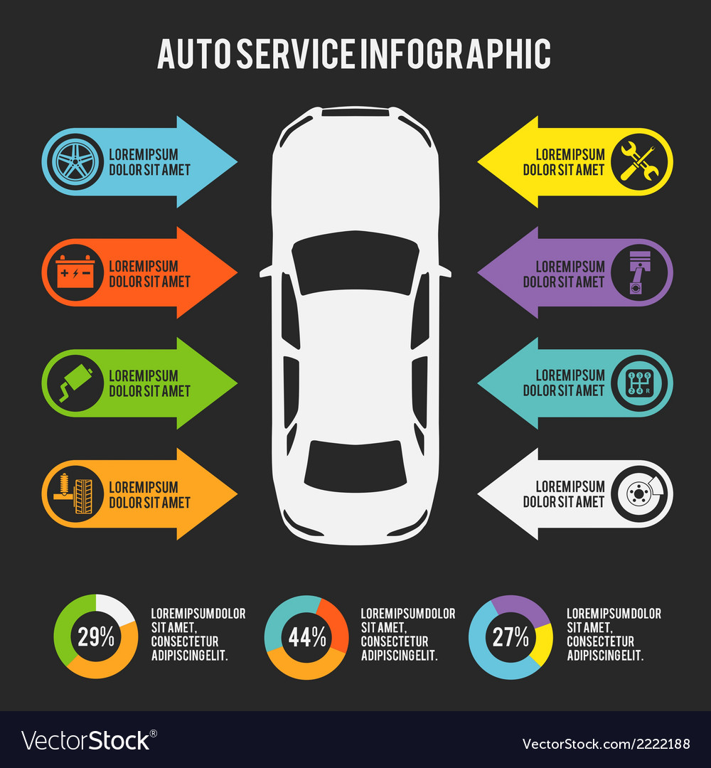 Auto service infographic vector | Price: 1 Credit (USD $1)