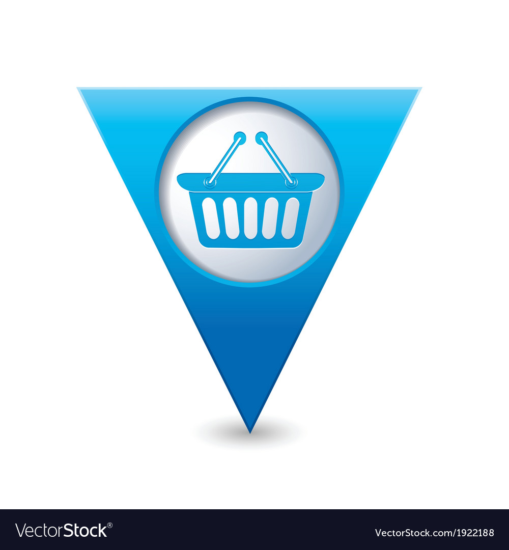 Basket icon map pointer blue vector | Price: 1 Credit (USD $1)
