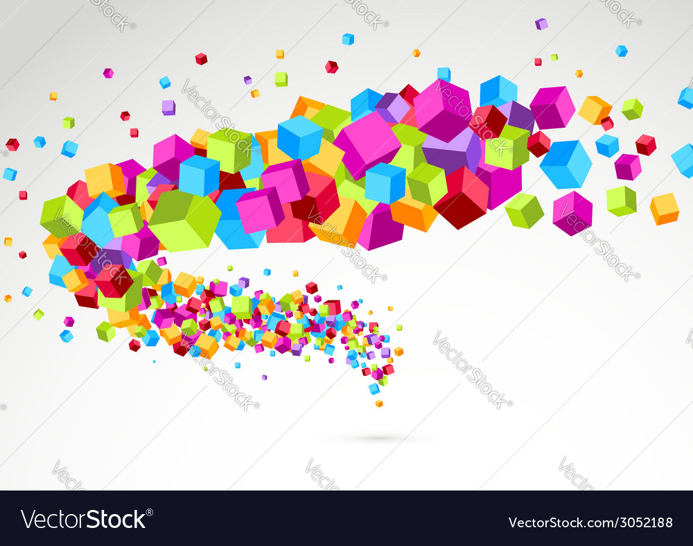 Bright colorful cube 3d swoosh background vector | Price: 1 Credit (USD $1)