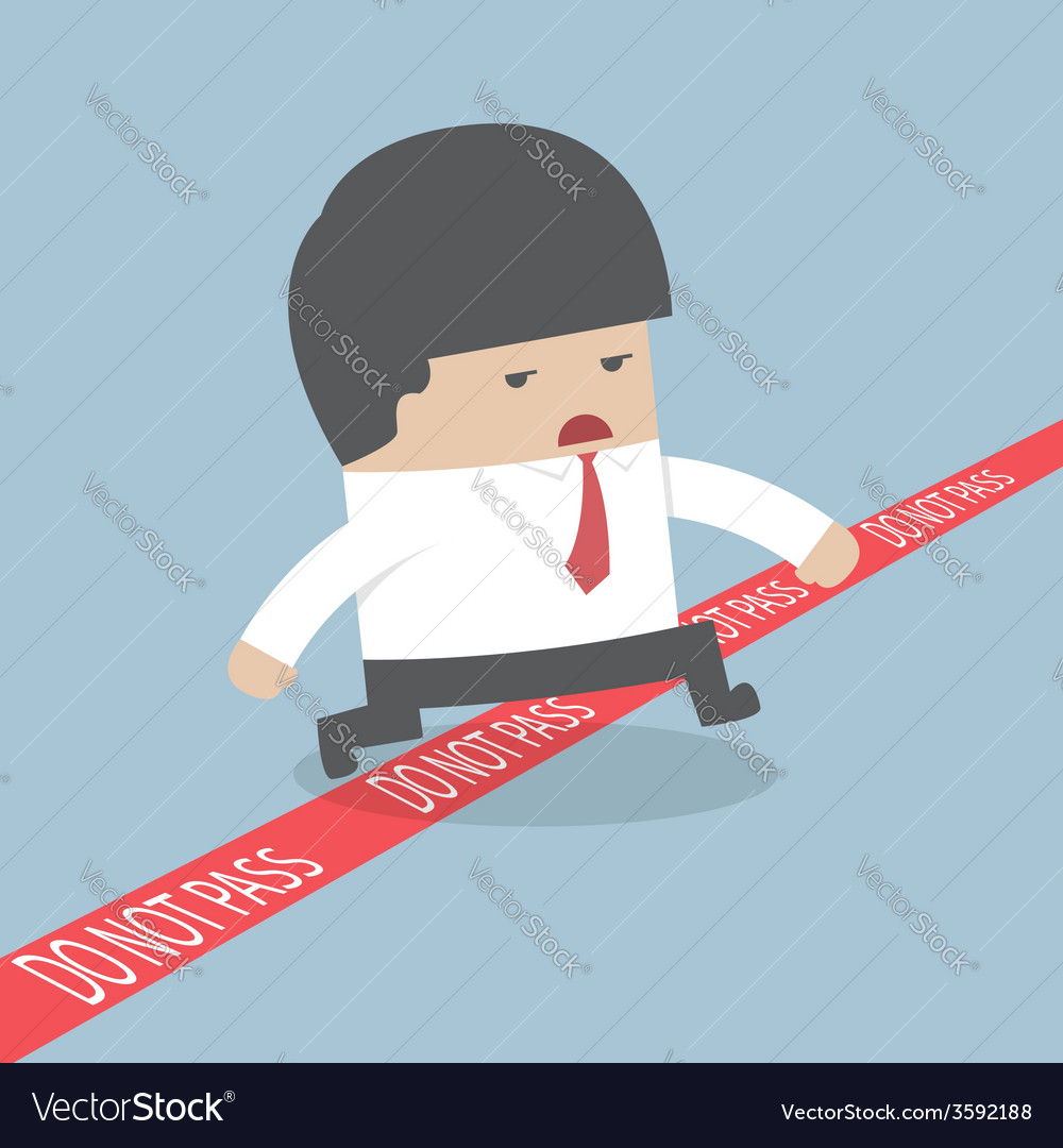 Businessman walking across a red line with words d vector | Price: 1 Credit (USD $1)