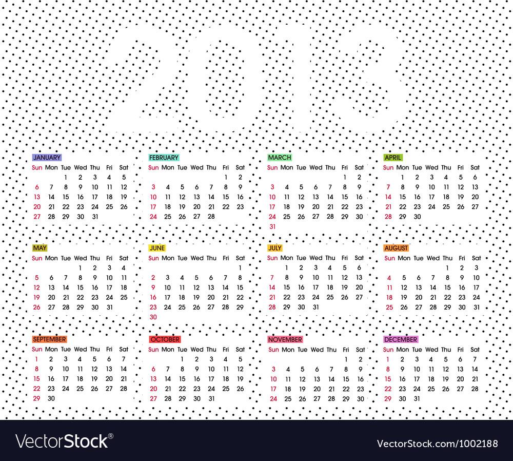 Calendar 2013 6 vector | Price: 1 Credit (USD $1)