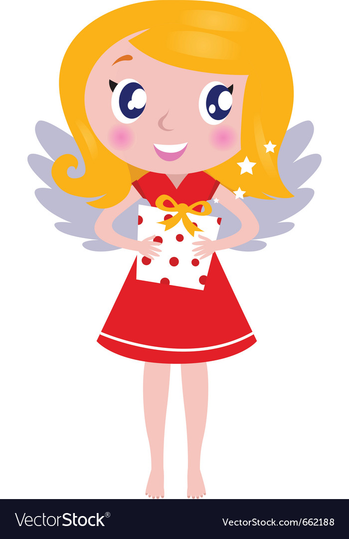 Christmas cartoon angel girl with gift vector | Price: 1 Credit (USD $1)