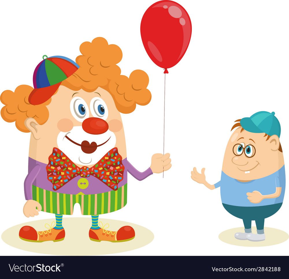 Circus clown with balloon and boy vector | Price: 1 Credit (USD $1)