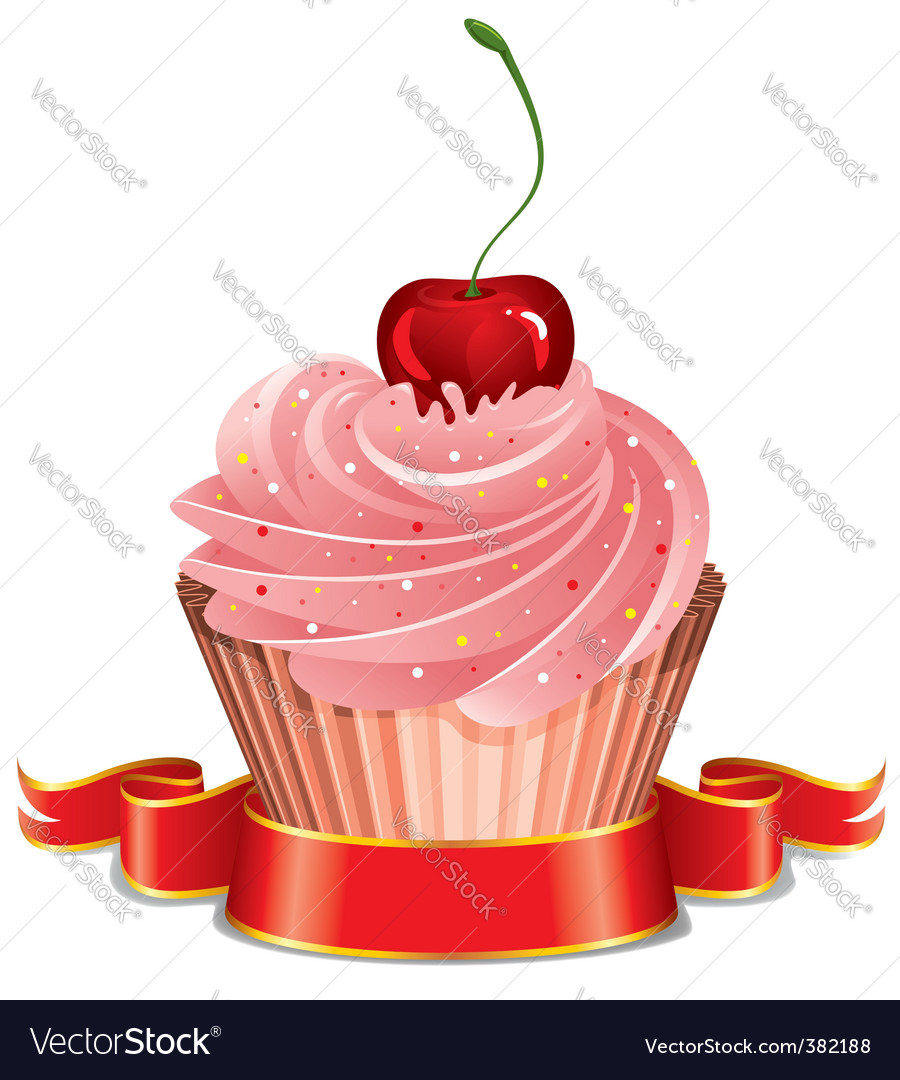 Cupcake with cherry vector | Price: 1 Credit (USD $1)
