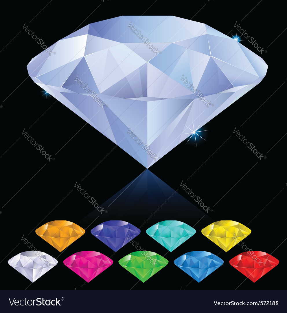 Diamonds in different colors vector | Price: 1 Credit (USD $1)