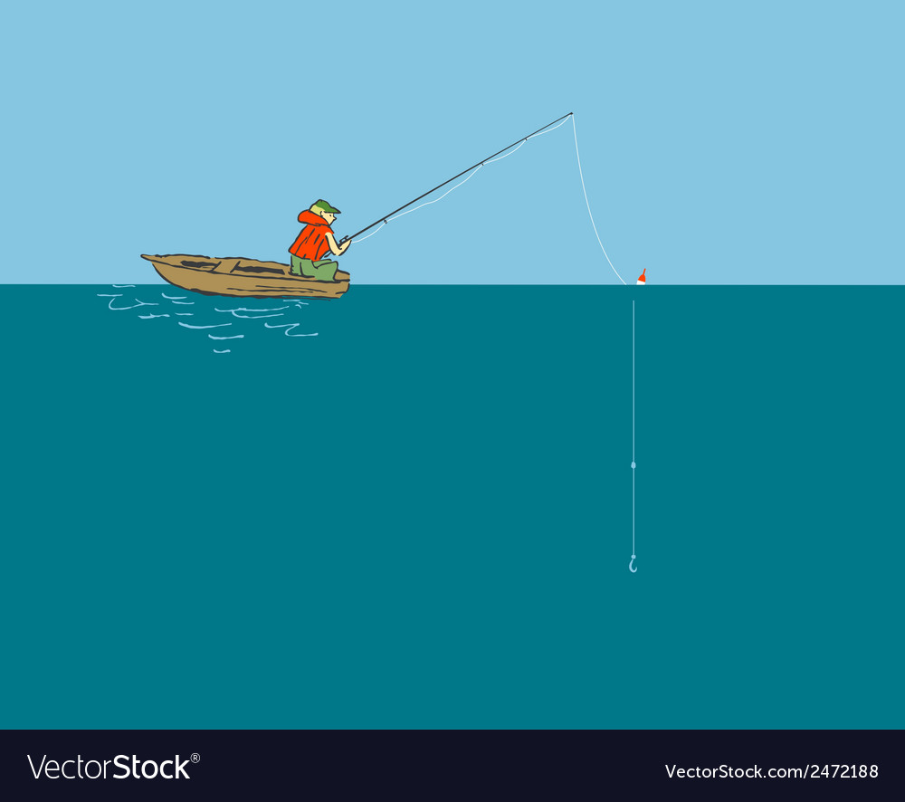 Fisherman in the boat with a fishing rod vector | Price: 1 Credit (USD $1)