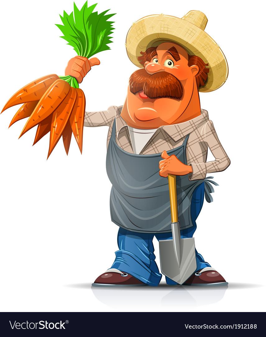 Gardener with carrot and vector | Price: 5 Credit (USD $5)