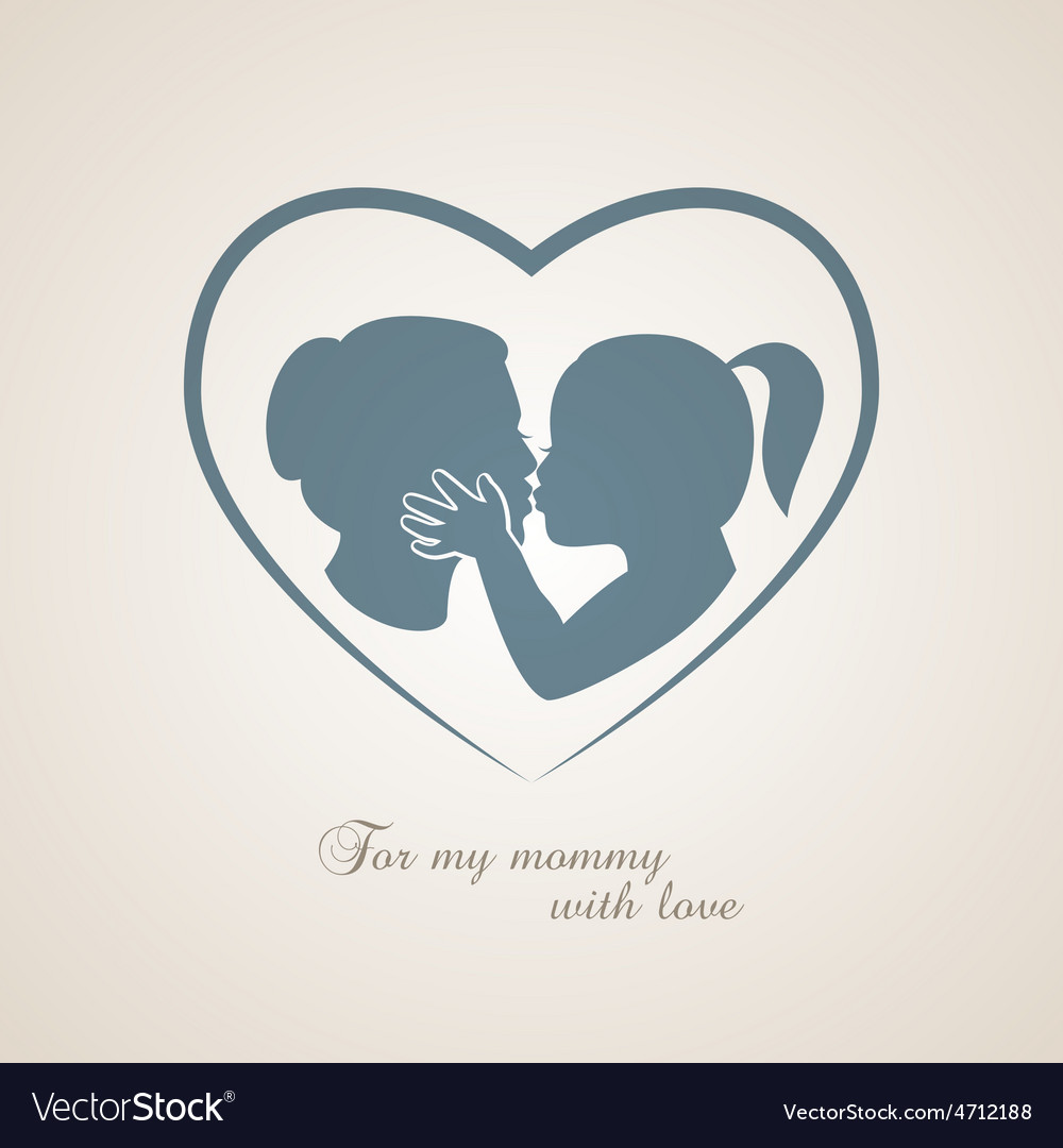 Little girl kissing her mom on mothers day vector | Price: 1 Credit (USD $1)
