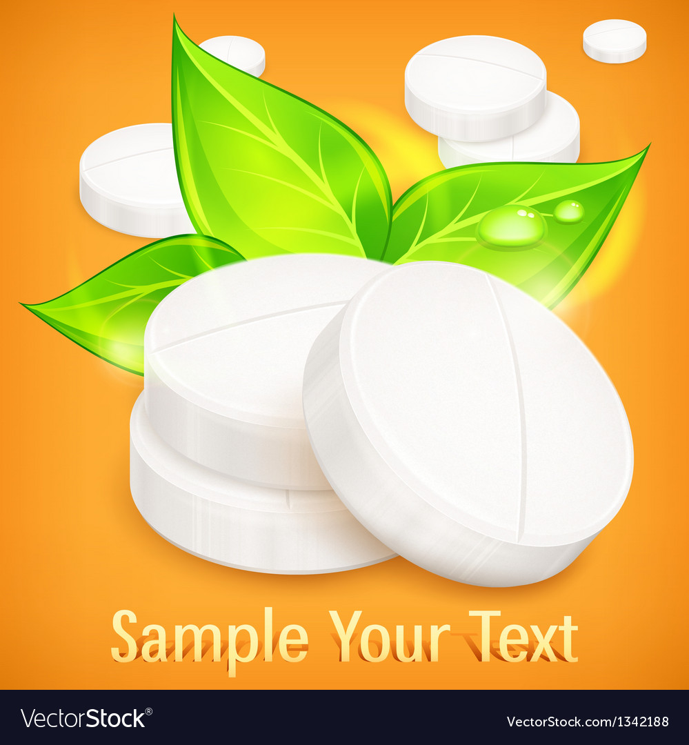 Pills natural on yellow vector | Price: 1 Credit (USD $1)