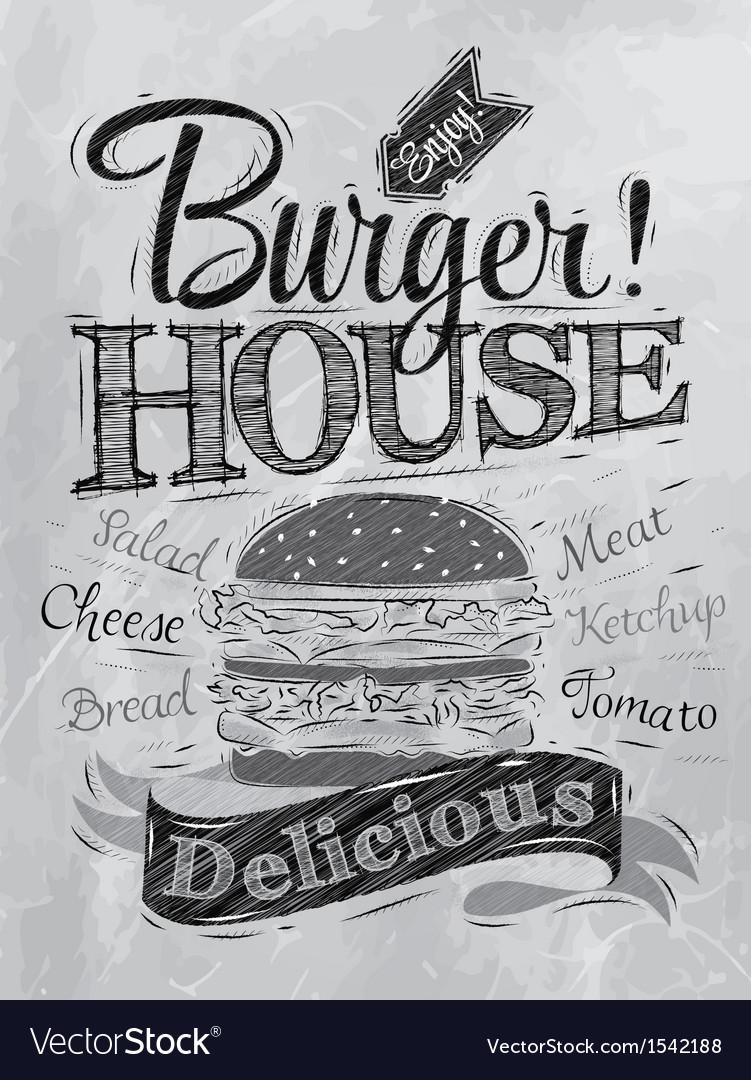 Poster burger hous coal vector | Price: 1 Credit (USD $1)