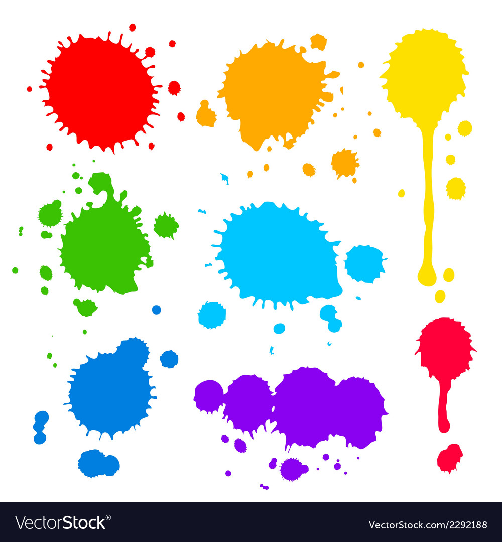 Splats and blobs of colored paint vector | Price: 1 Credit (USD $1)