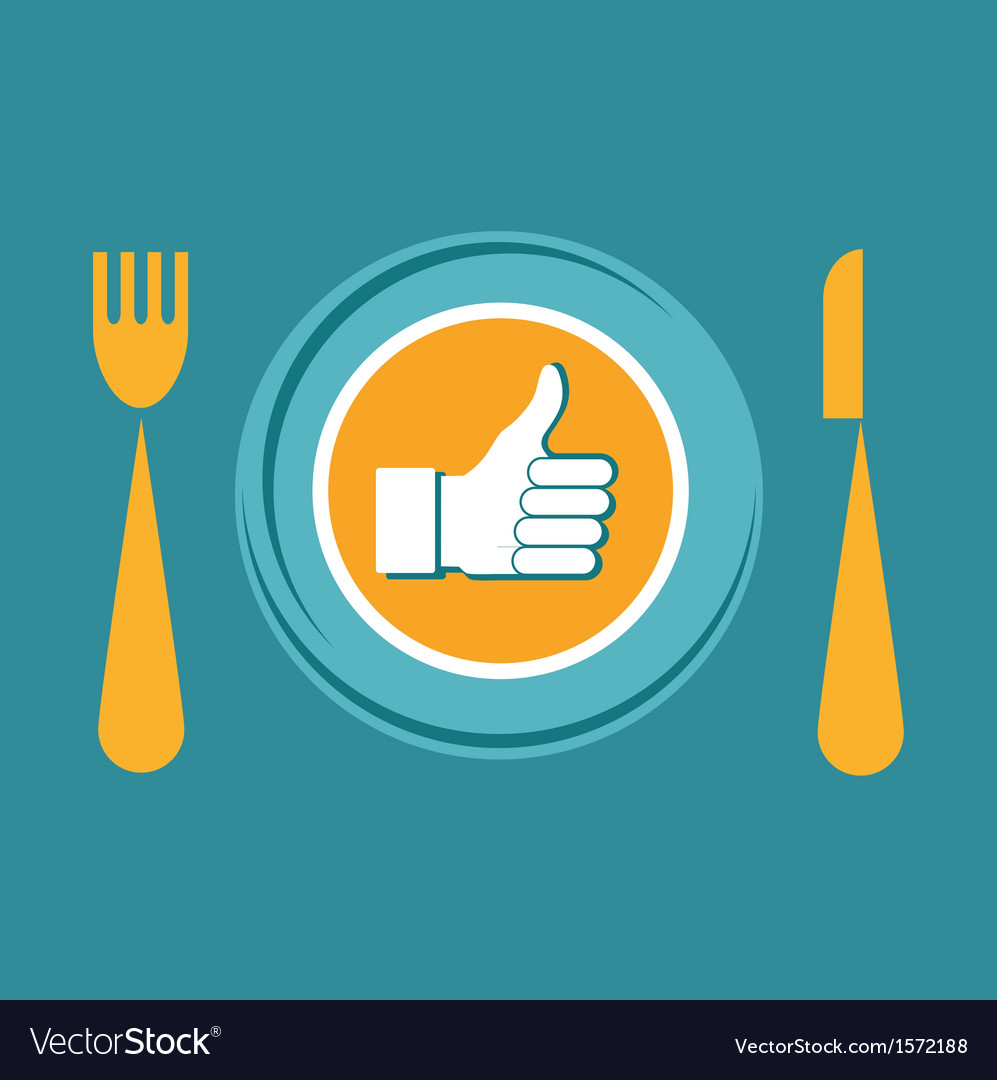 Thumbs up icon with plate fork and knife like food vector | Price: 1 Credit (USD $1)