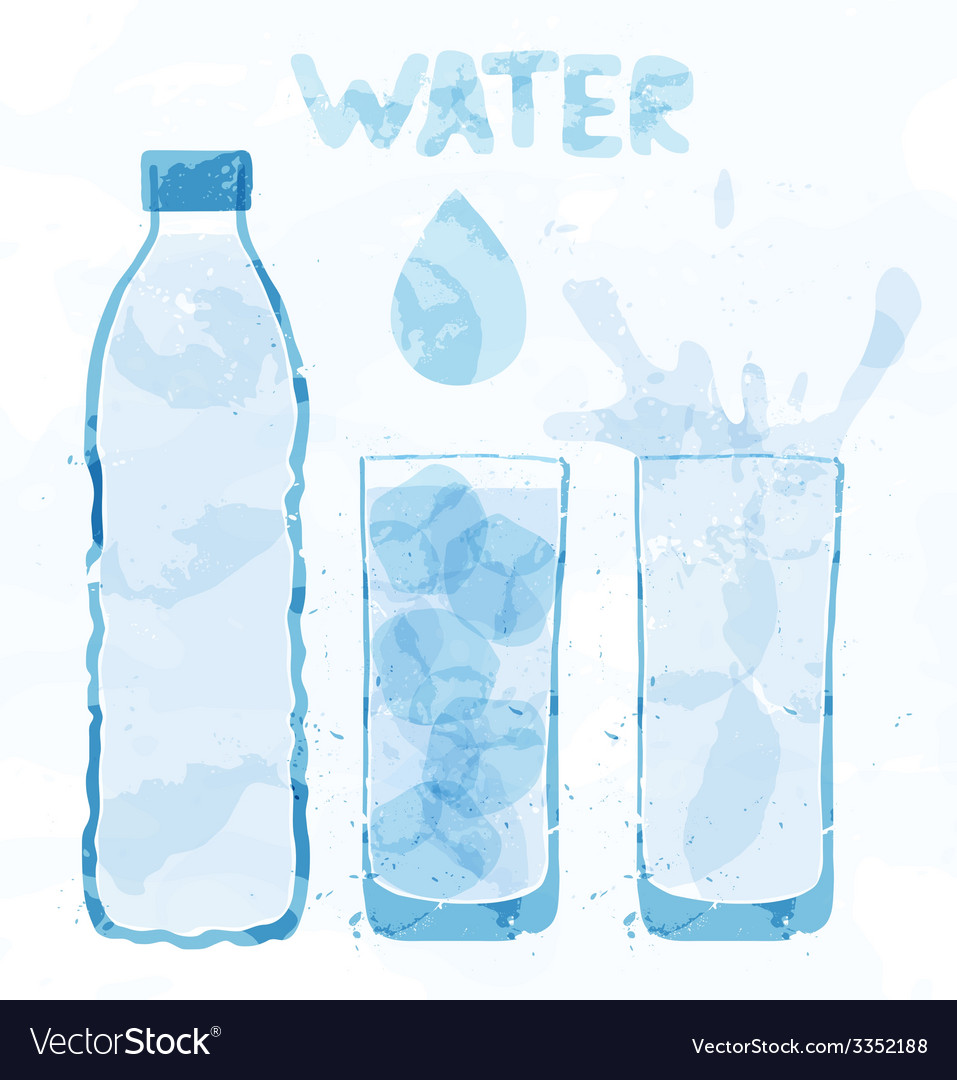 Water bottle and a glass vector | Price: 1 Credit (USD $1)