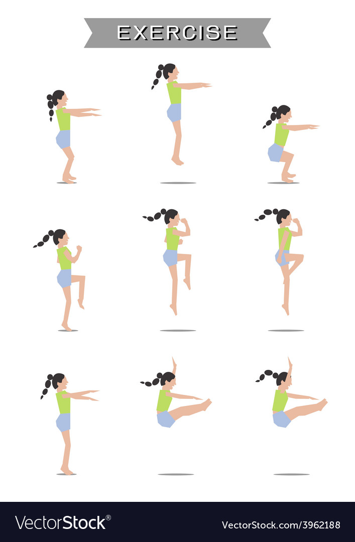 Women exercising set on white background vector | Price: 1 Credit (USD $1)