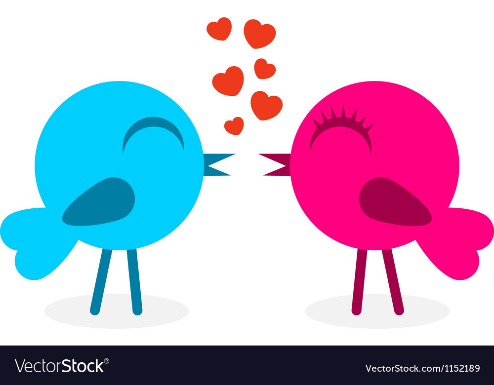 2 falling in love birds vector | Price: 1 Credit (USD $1)