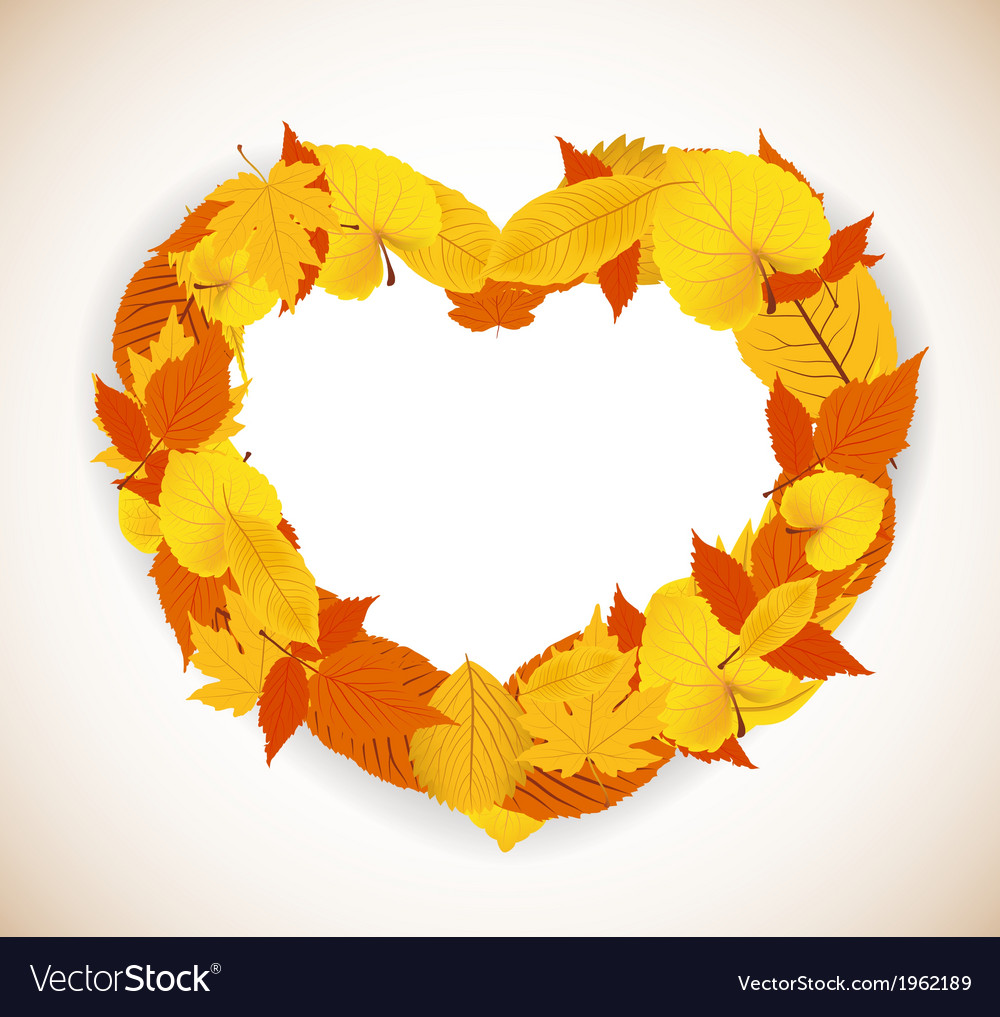 Autumn leaves background with heart vector | Price: 1 Credit (USD $1)