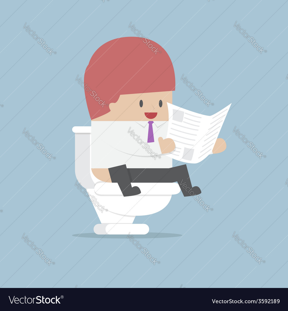 Businessman reading a newspaper in the toilet vector | Price: 1 Credit (USD $1)