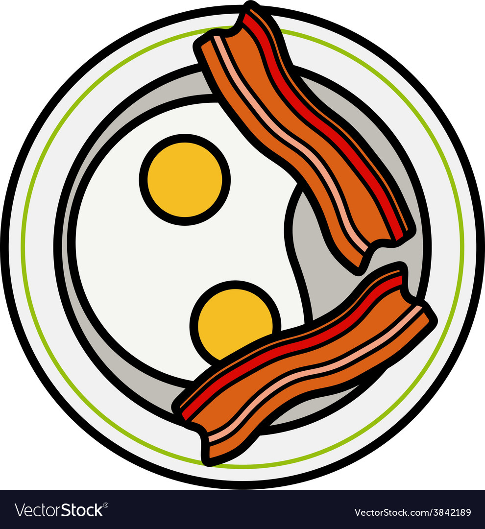 Eggs and bacon four delicious fried eggs and vector | Price: 1 Credit (USD $1)
