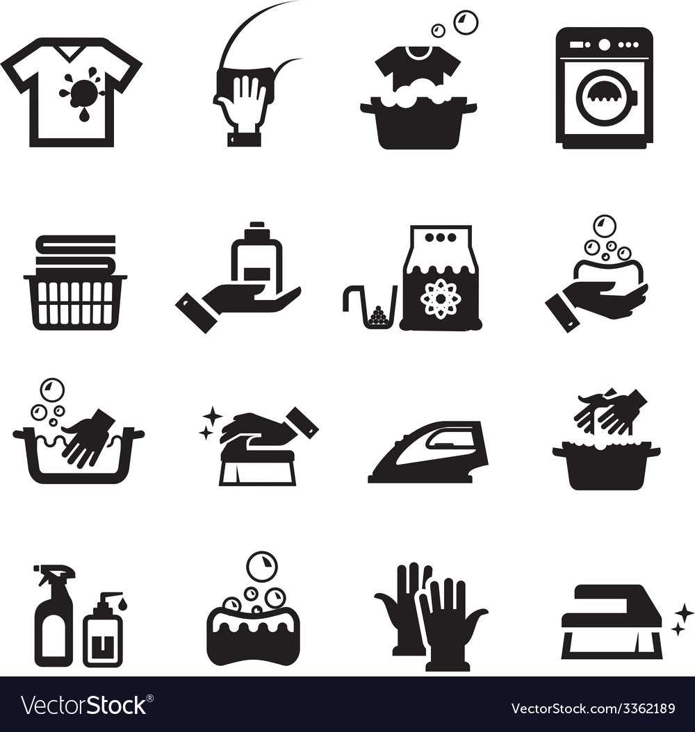 Laundry washing icons set vector | Price: 1 Credit (USD $1)