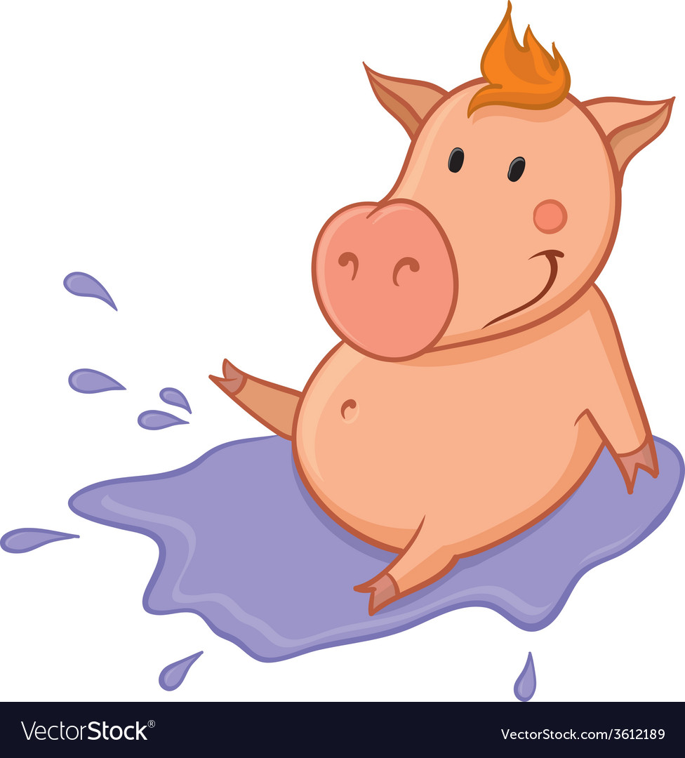 Pig in puddle vector | Price: 1 Credit (USD $1)