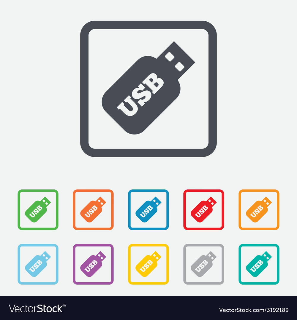 Usb stick sign icon usb flash drive button vector | Price: 1 Credit (USD $1)