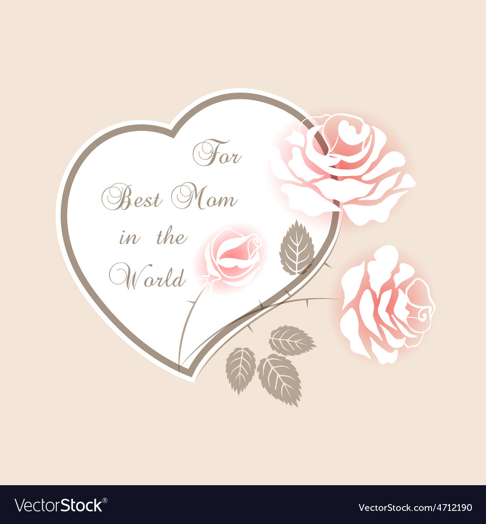 Delicate pink card with roses vector | Price: 1 Credit (USD $1)