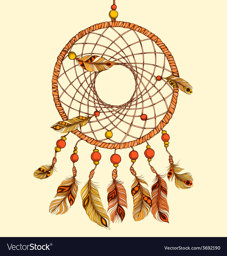 Ethnic dream catcher with feathers vector | Price: 1 Credit (USD $1)