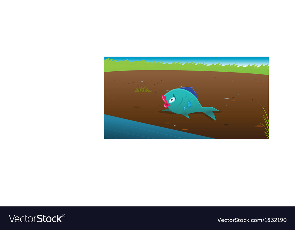 Fish stranded land vector | Price: 1 Credit (USD $1)