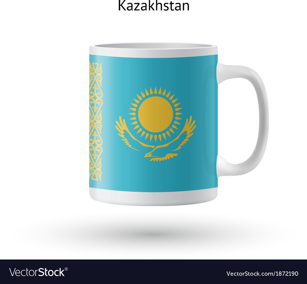 Kazakhstan flag souvenir mug on white background vector | Price: 1 Credit (USD $1)
