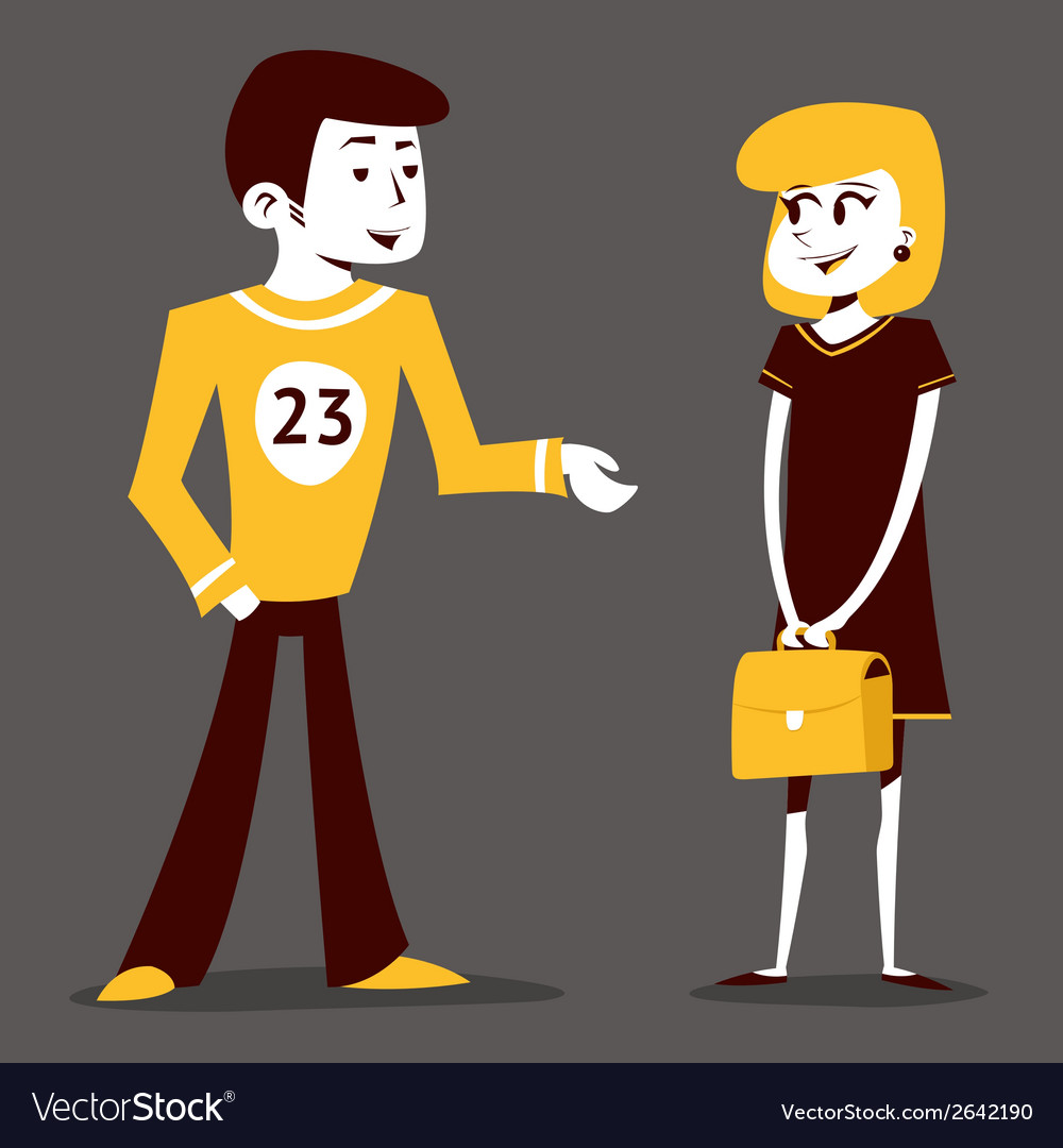 Meeting guy athlete and student girl talking pupil vector | Price: 1 Credit (USD $1)