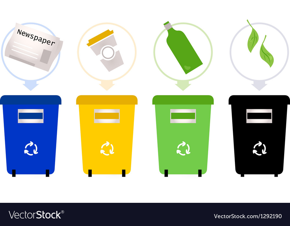 Separate garbage collection isolated on white vector | Price: 1 Credit (USD $1)
