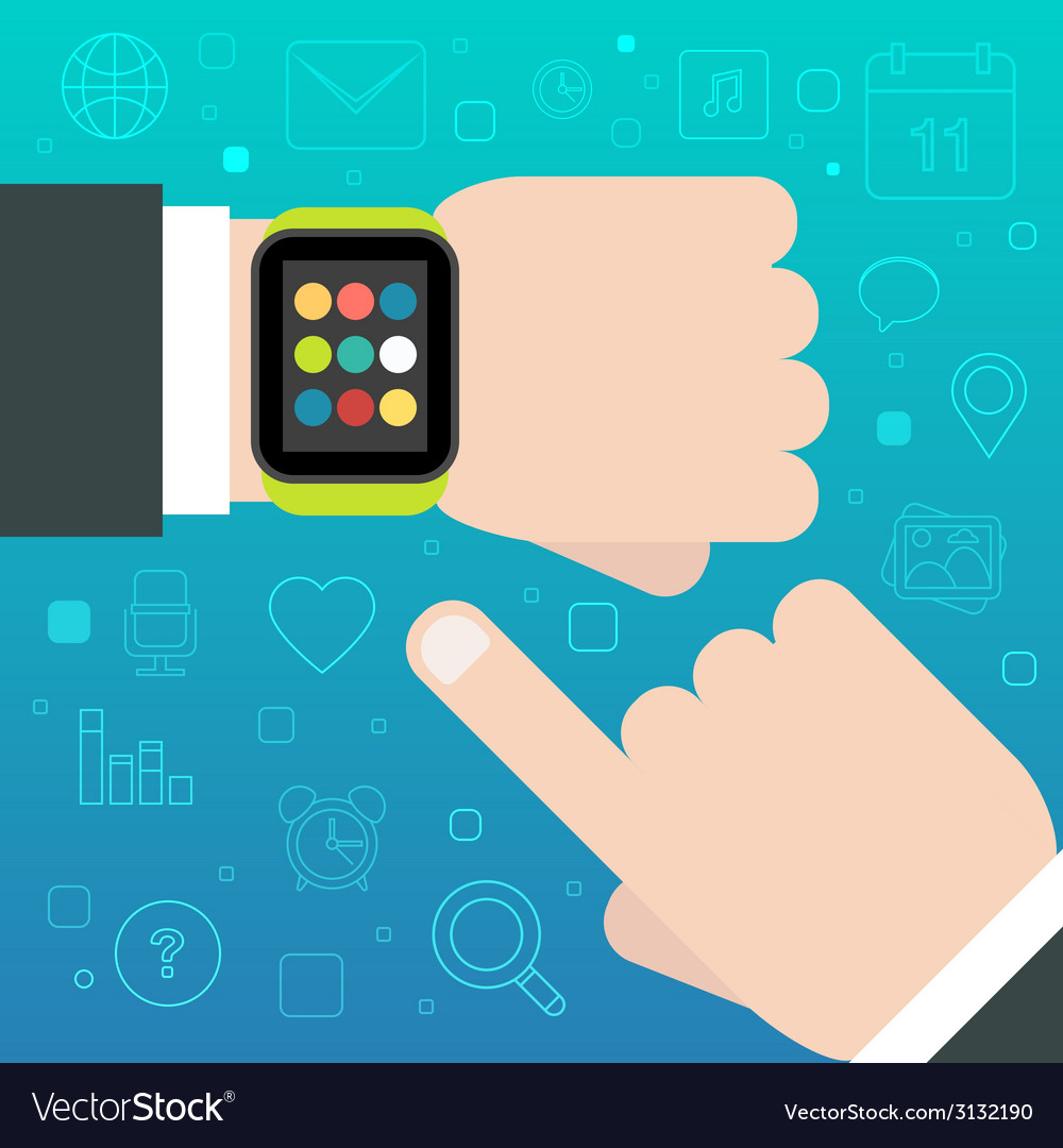 Smart watch concept with mobile apps icons vector | Price: 1 Credit (USD $1)