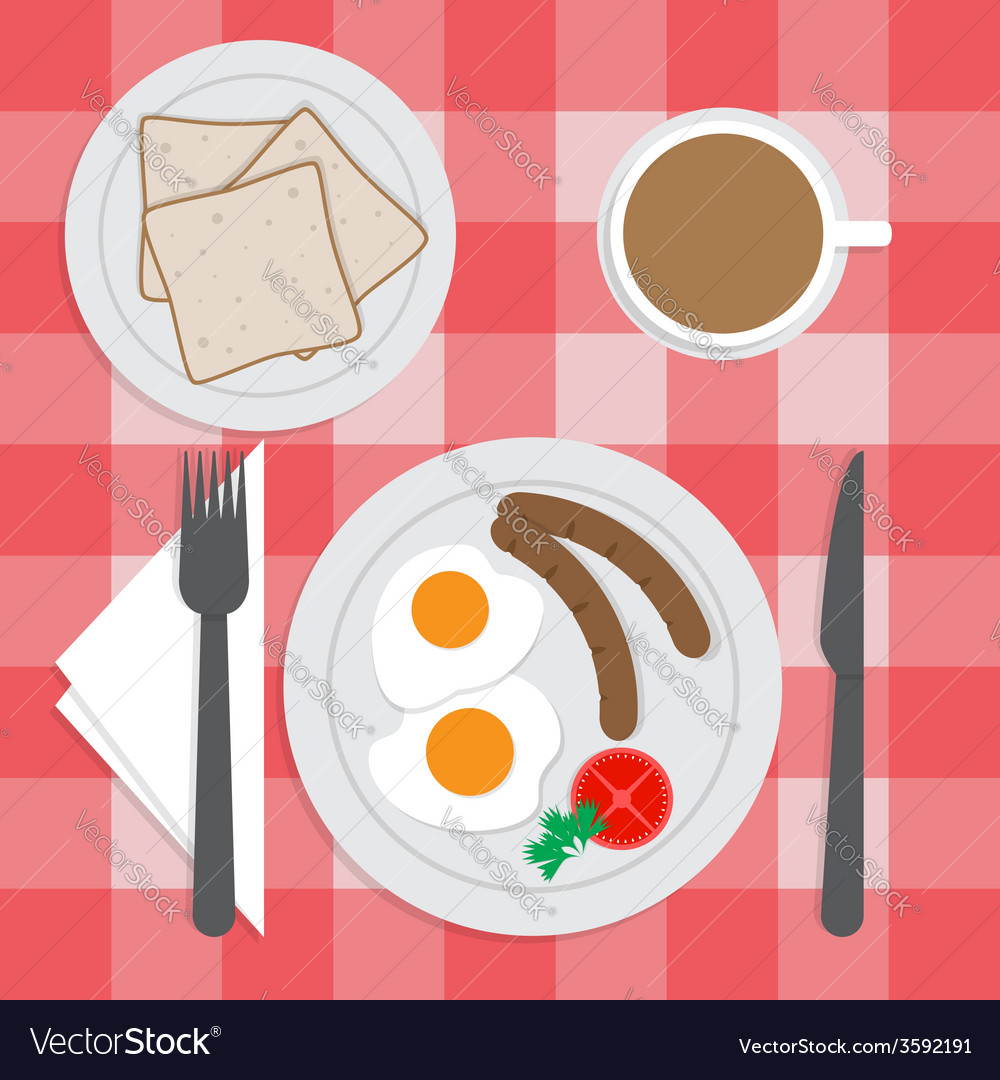 American breakfast set on the table fried egg sa vector   Price: 1 Credit (USD $1)