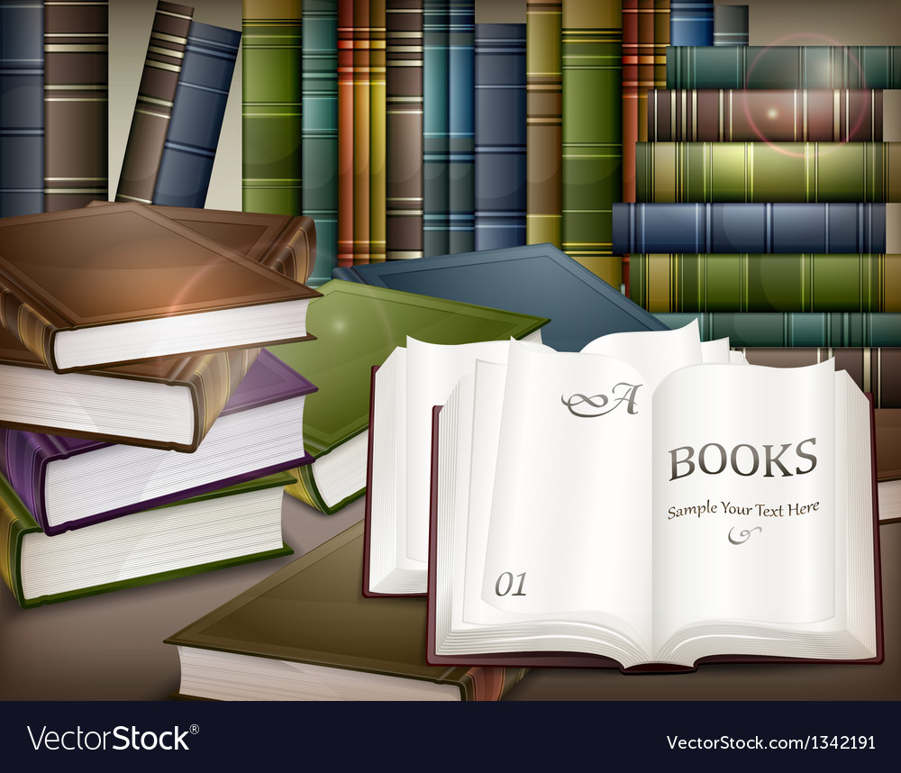 Book stacks on table vector | Price: 3 Credit (USD $3)