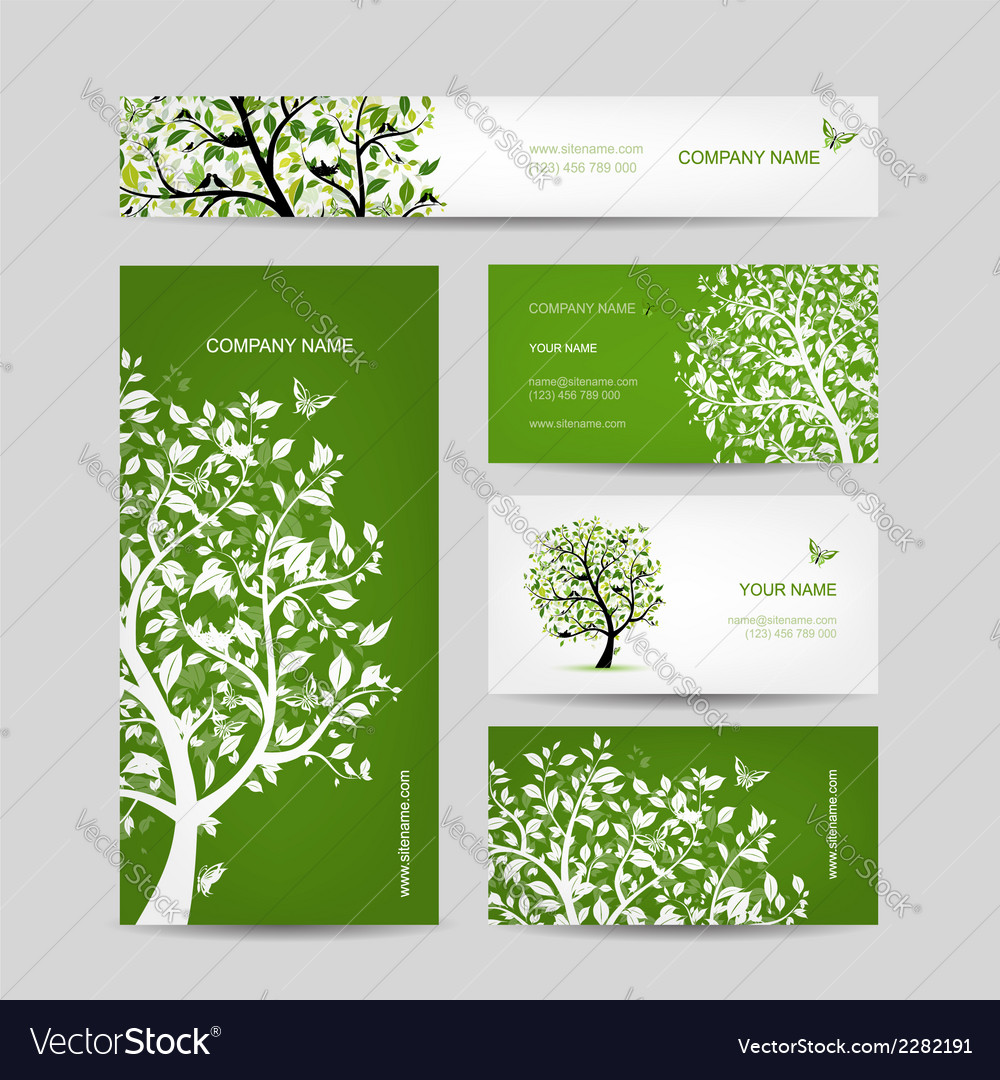 Business cards design spring tree with birds vector | Price: 1 Credit (USD $1)