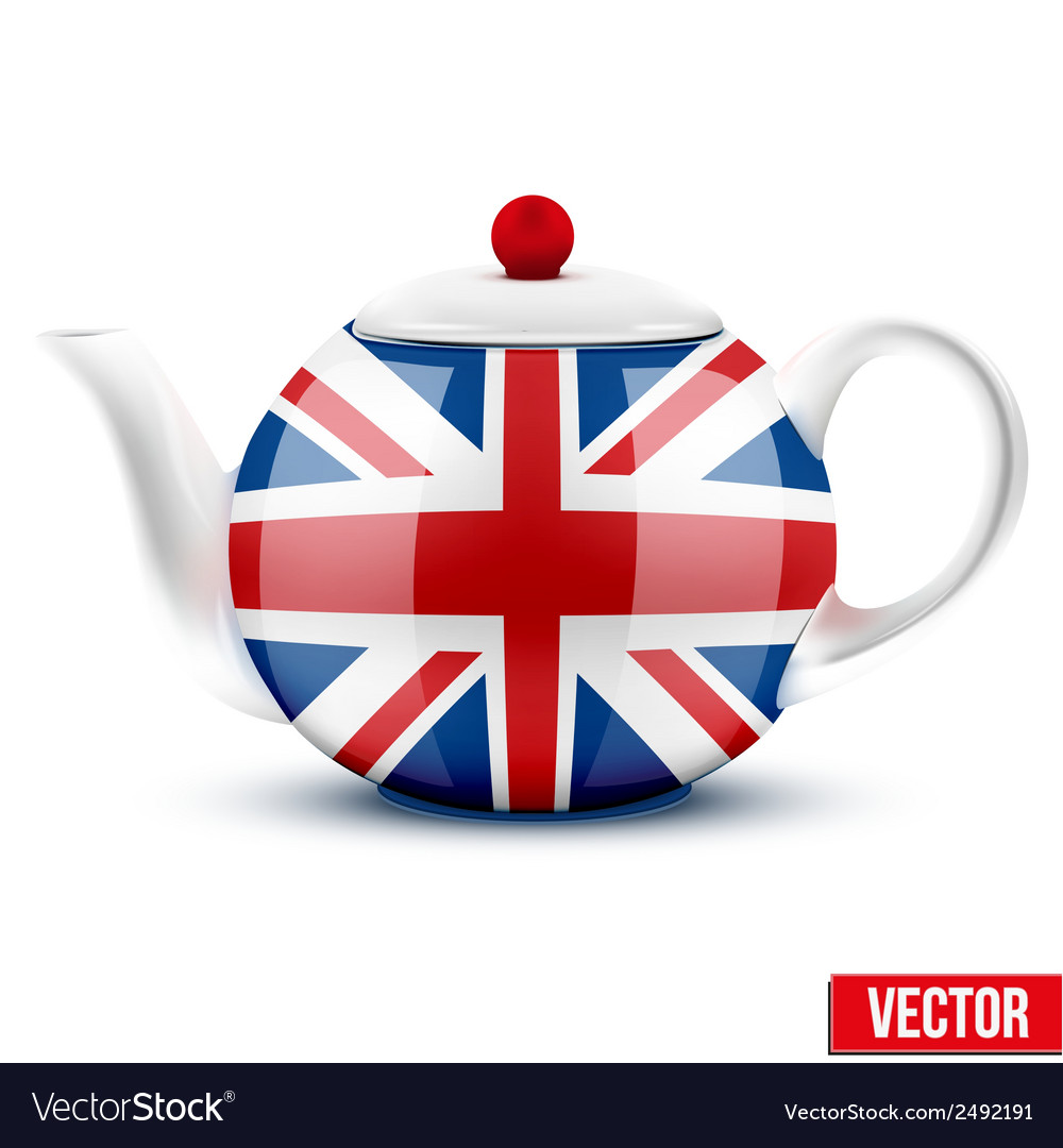 English ceramic teapot with flag of great britain vector | Price: 1 Credit (USD $1)