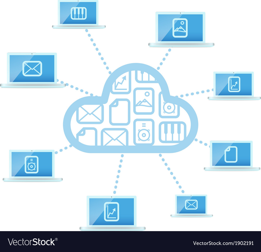 Modern cloud technology computer network vector | Price: 1 Credit (USD $1)