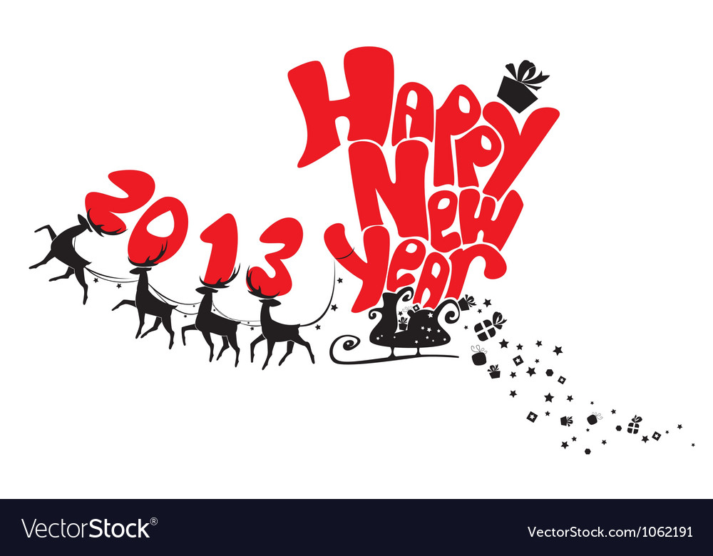 New year card with flying reindeers 2013 vector | Price: 1 Credit (USD $1)