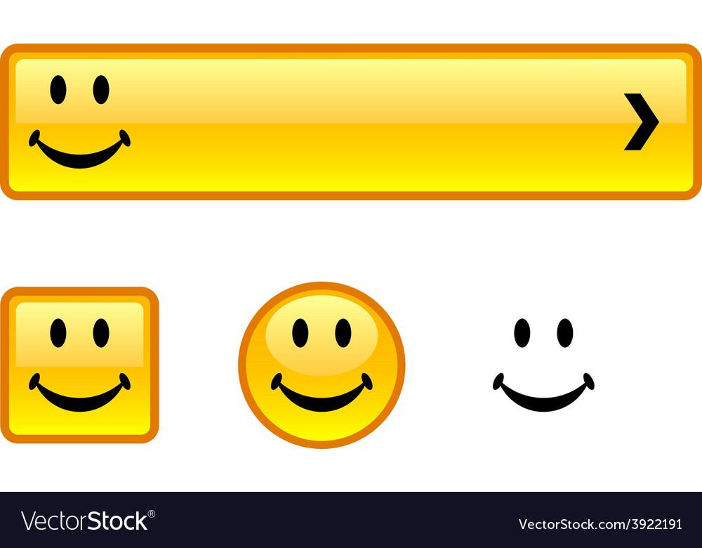 Smiley button set vector | Price: 1 Credit (USD $1)