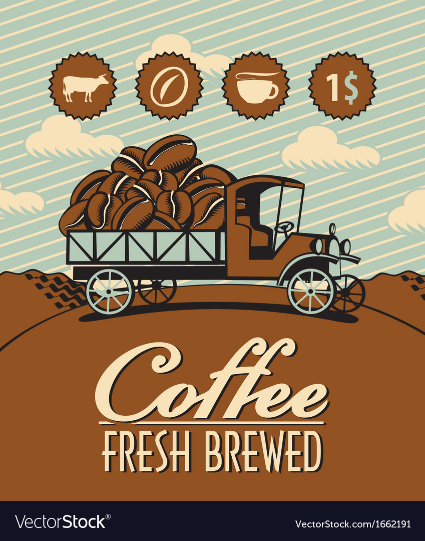 Truck with coffee vector | Price: 1 Credit (USD $1)