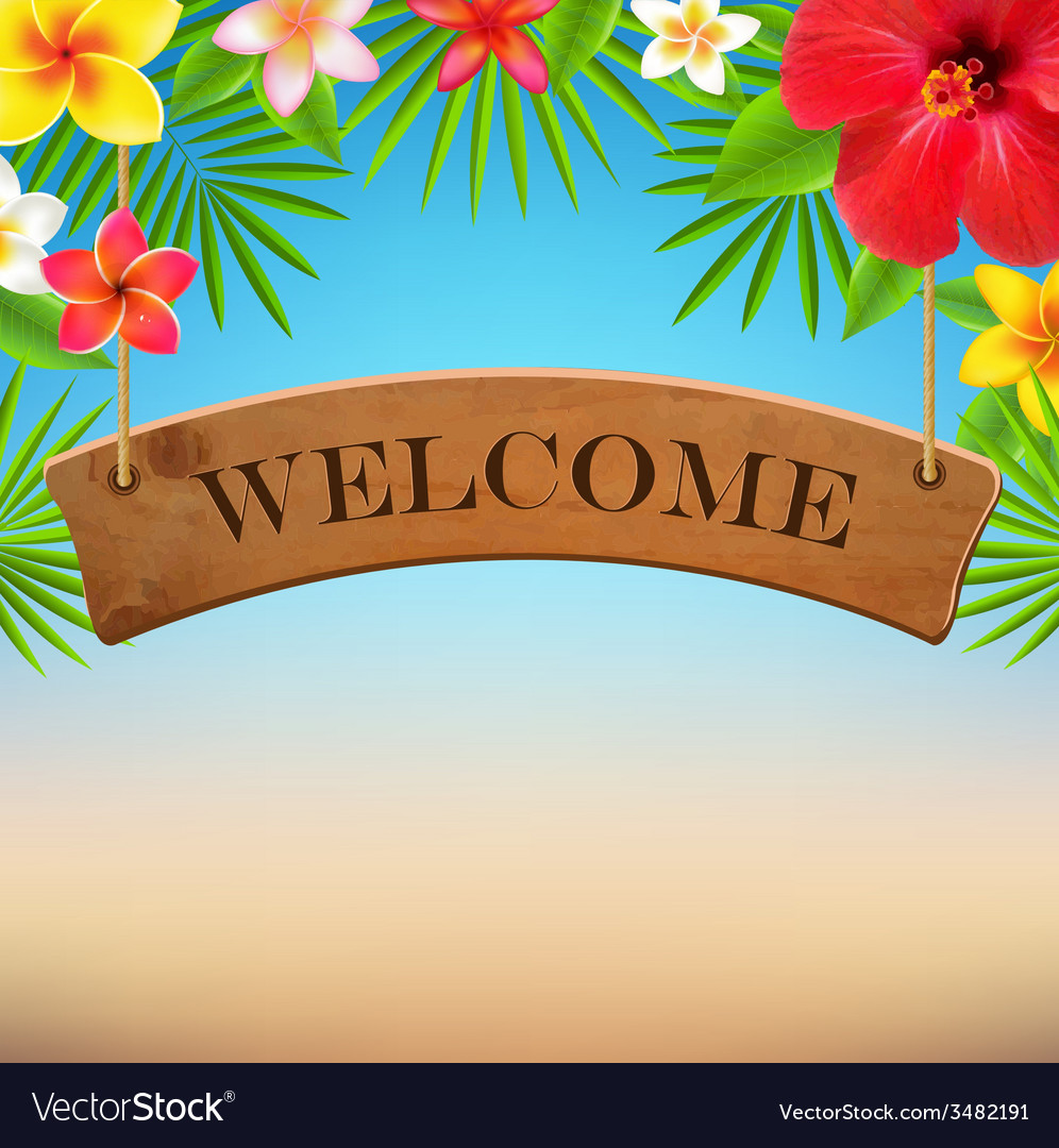 Wooden sign with tropical flowers vector | Price: 1 Credit (USD $1)