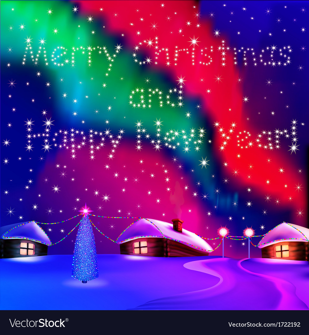 Christmas card with houses vector | Price: 1 Credit (USD $1)