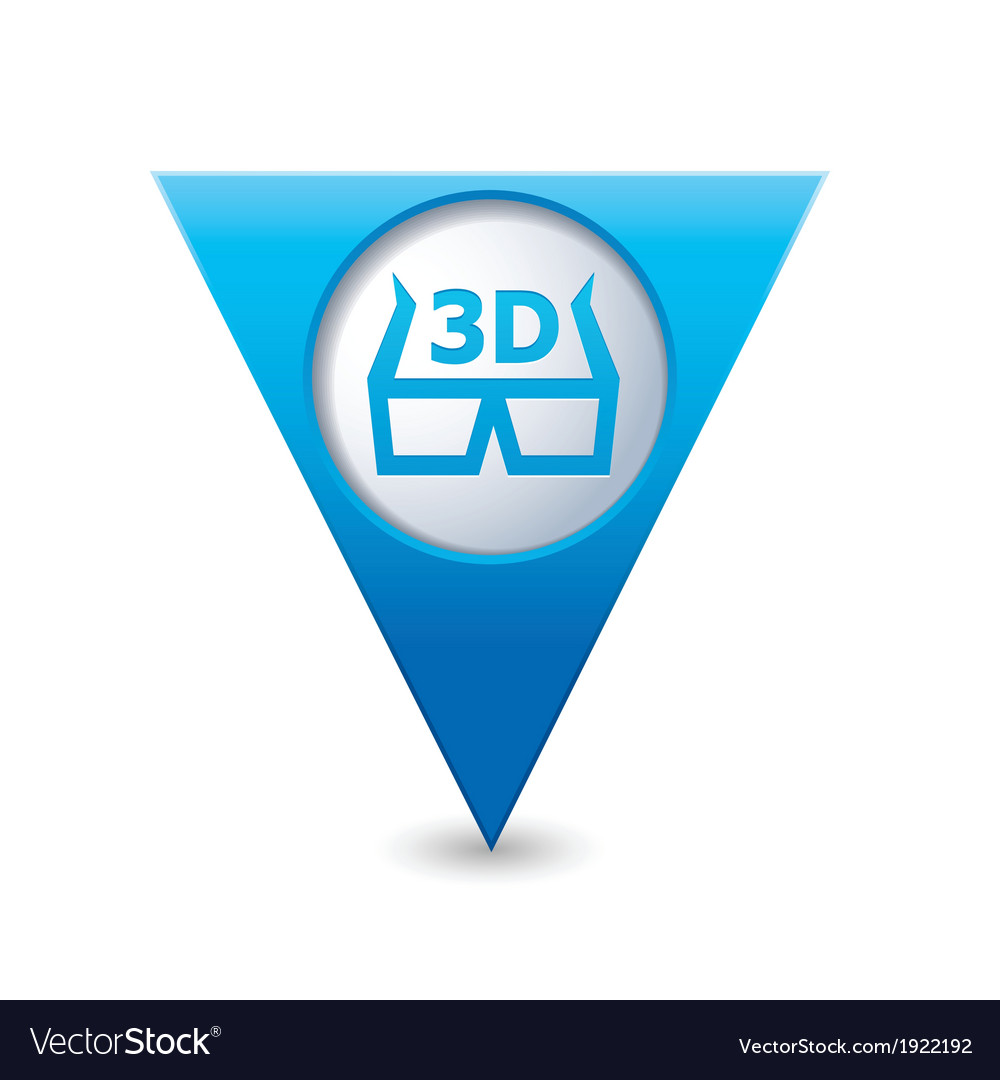 Cinema glasses 3d icon map pointer blue vector | Price: 1 Credit (USD $1)